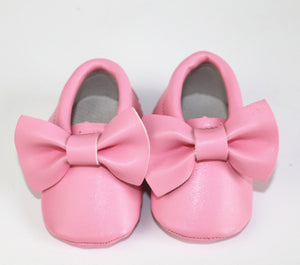 Pink Bow Moccasins 0-3M