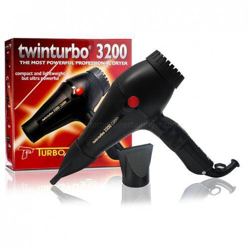 Turbo Power Twin Turbo 3200 Blow Dryer (Black) - Barber World