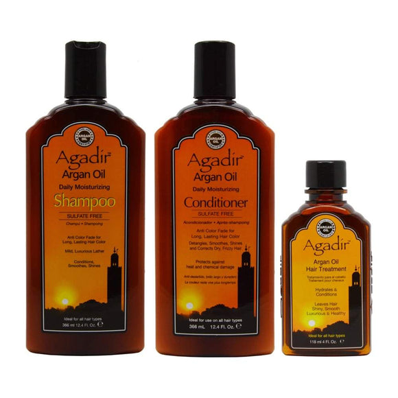 Agadir Argan Oil Daily Moisturizing Shampoo + Conditioner + Hair Treatment