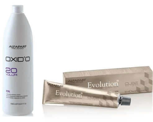 Alfaparf Milano Evolution Of The Color Permanent + Alfaparf Oxid'O Stabilized Peroxide Cream Vol 20 - 33.81oz