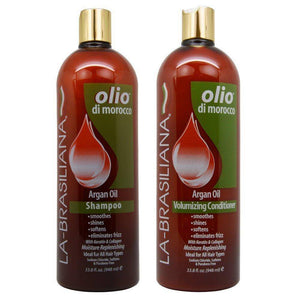La Brasiliana Olio Di Morocco Argan Oil Shampoo and Conditioner - 33.8oz