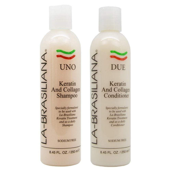 La-Brasiliana UNO Keratin and Collagen Shampoo and DUE Conditioner - 8.45oz