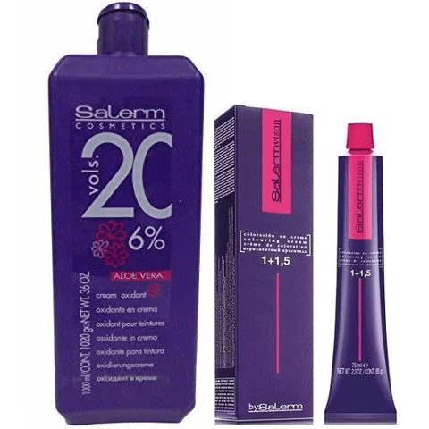 Salerm Vision Permanent Hair Colouring Cream + Salerm Cream Oxidant with Aloe Vera Vol 20 - 36oz