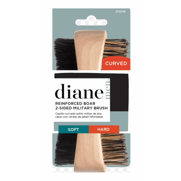 Diane Curved Reinforced Boar 2-Sided Military Brush - Soft and Hard #D1006 - Barber World