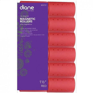 "Diane Magnetic Rollers 1-1/2"" Red - 12 Pack - Barber World"