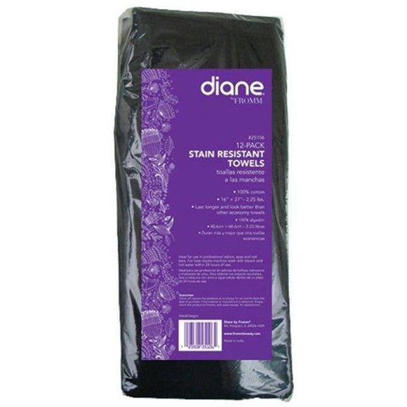 Diane Stain Resistant Towels - 12-Pack Black