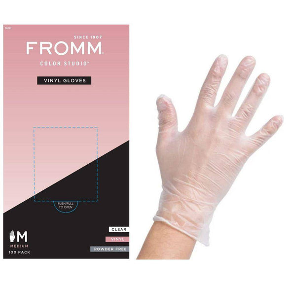 FROMM Color Studio Powder Free Vinyl Clear Gloves 100 Pcs - Medium #D8021 - Barber World