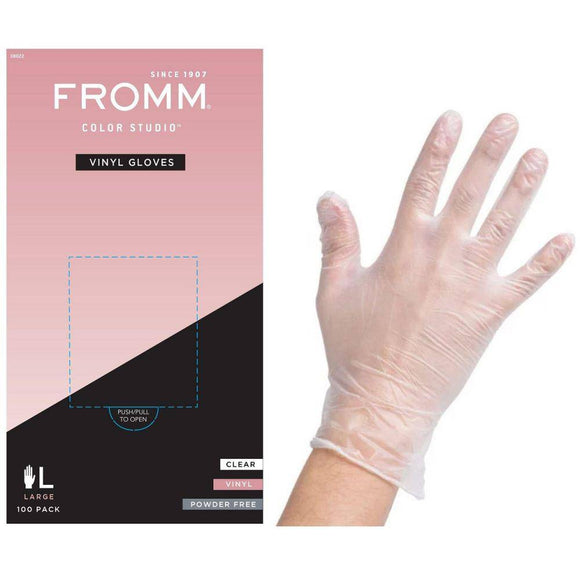 FROMM Color Studio Powder Free Vinyl Clear Gloves 100 Pcs - Large #D8022 - Barber World
