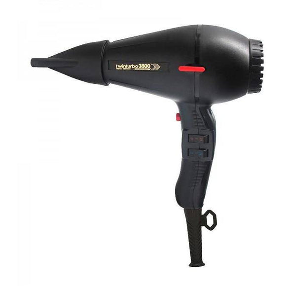 Turbo Power TwinTurbo 3800 Professional Ceramic & Ionic Hair Dryer (Black)