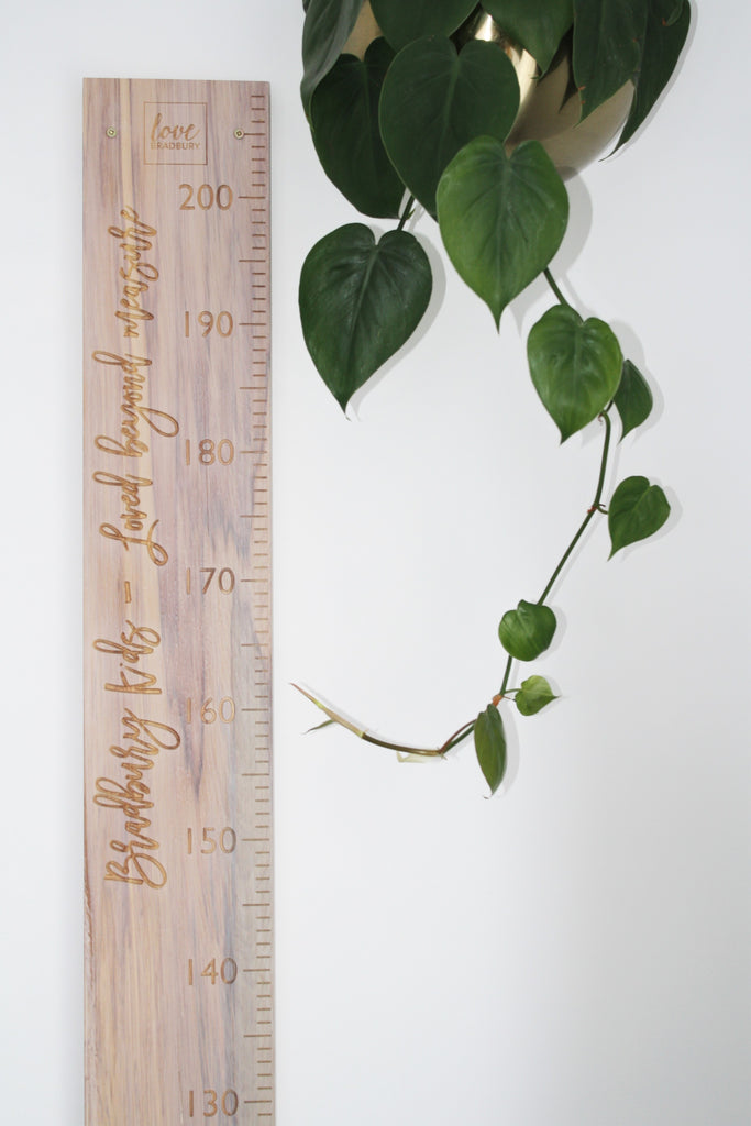 Loved beyond measure height chart quote whitewash recycled rimu personal name available