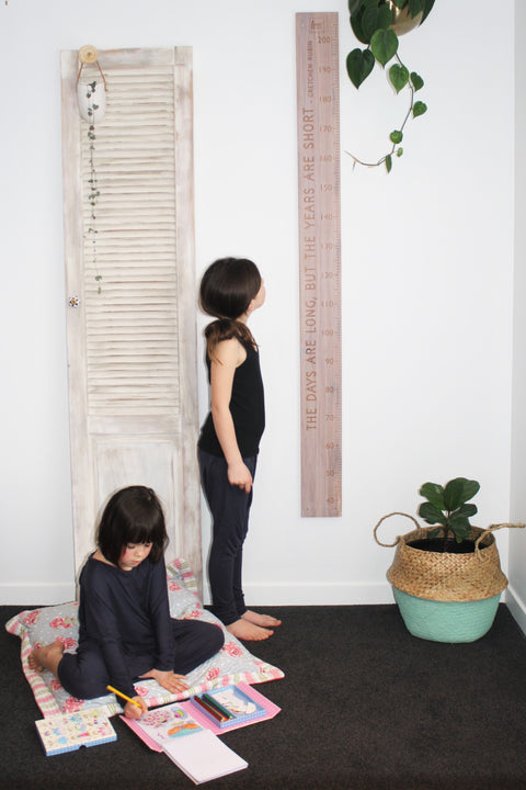 Gretchen Rubin Quote the days are long but the years are short height chart recycled rimu whitewash