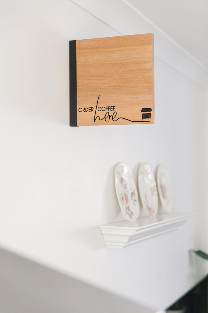 Order Coffee Here - Recycled Rimu Sign