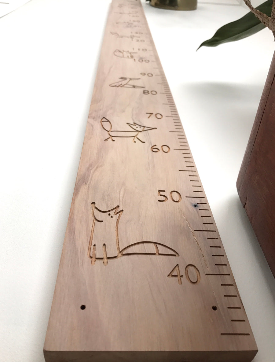 Foxes on whitewash recycled rimu height chart personal name option