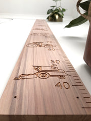 Construction vehicle height chart on natural recycled rimu and whitewash rimu personal name option available