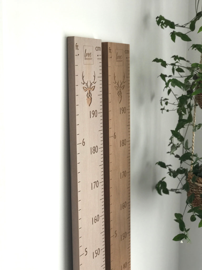 Stag head feet and cm height chart whitewash rimu natural rimu