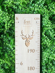 Stag head feet and cm height chart whitewash rimu