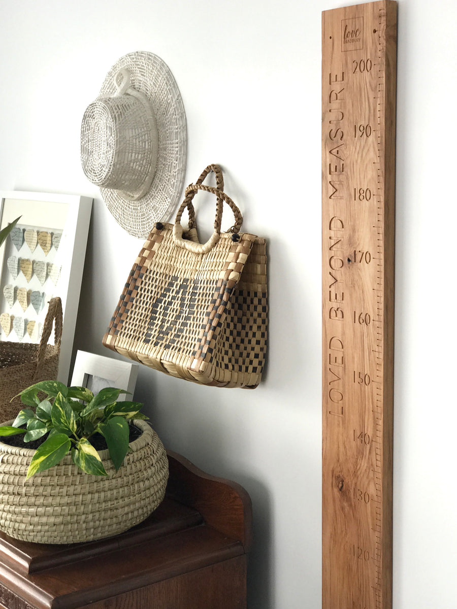 Loved beyond measure height chart quote natural rimu personalisation available