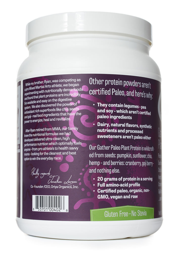 Oriya Organics Gather Paleo Plant Protein side