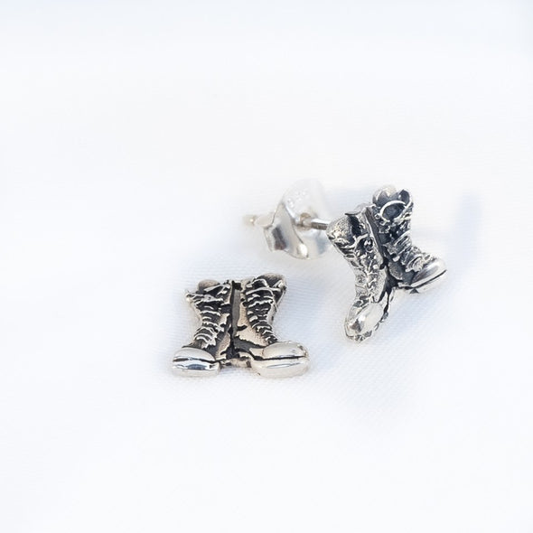 Sterling Silver Combat Boots Stud Earrings