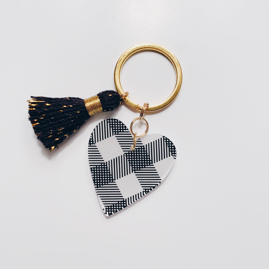 Black Plaid Heart Keychain