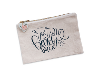 Resting Beach Face - Canvas Pouch - lefty.script