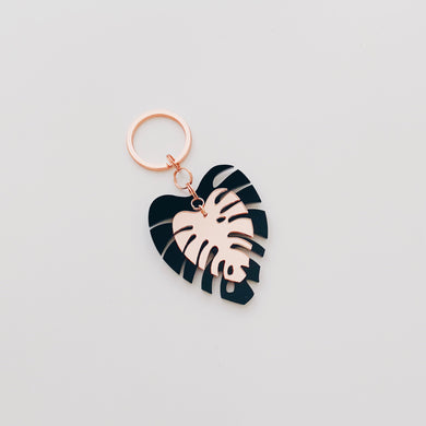 Rose Gold Mirror Monstera Leaf Keychain - lefty.script