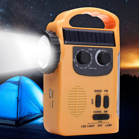 Solar Dynamo Powered Emergency Radio Hand Crank AM/FM 5 LED Flashlight USB Phone Charger
