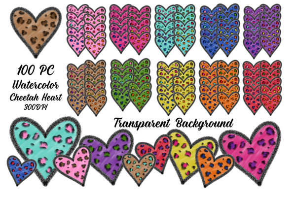 (Instant Print) Digital Download - 100pc BUNDLE Cheetah Heart