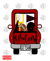 Sublimation print - Wolves football truck #1016