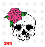 Sublimation print  - Skull with pink flower #1043