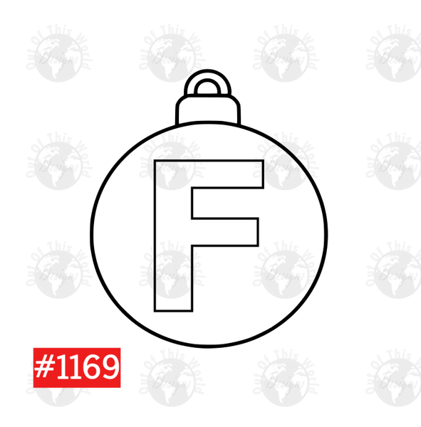 Sublimation print -  Christmas Bulb Letter F #1169
