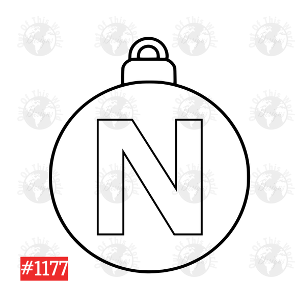 Sublimation print -  Christmas Bulb Letter N #1177