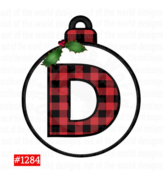 Sublimation print -  Plaid Letter D Bulb #1284