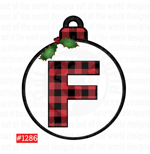 Sublimation print  - Plaid Letter F Bulb #1286
