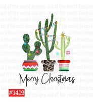 Sublimation print - Merry Christmas Cactus #1419