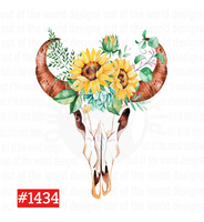 Sublimation print - Bull with sunflowers #1434