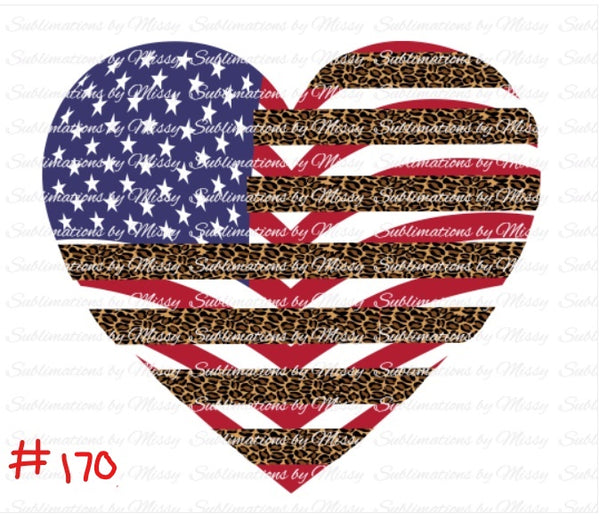 Sublimation print -Cheetah Heart American Flag