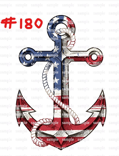 Sublimation print - American flag anchor