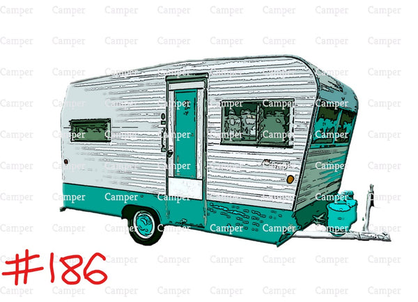 Sublimation print - Teal camper #186