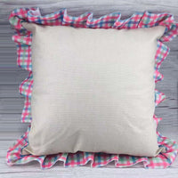 100% Polyester pillow case with pink, blue and green plaid