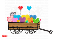 Sublimation print - Wagon with hearts #1975