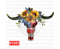 Sublimation print - Sunflower - american flag bull
