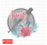 Sublimation print - Aunt baseball