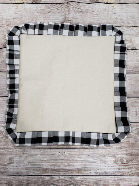 100% Polyester pillow case with black plaid