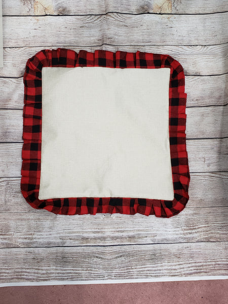 100% Polyester pillow case with red plaid