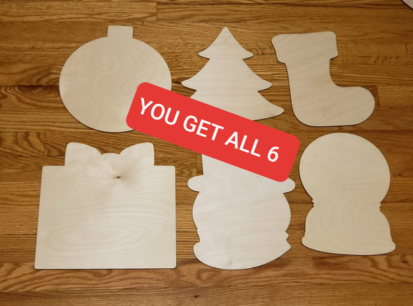 Christmas 11 inch Wood 6pc Bundle Blanks For Painting