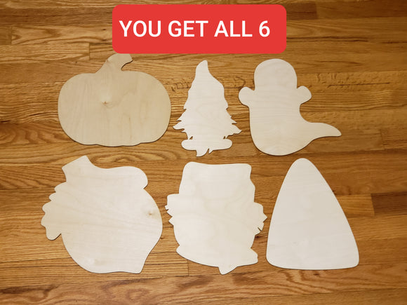 Fall 11 inch Wood 6pc Bundle Blanks For Painting