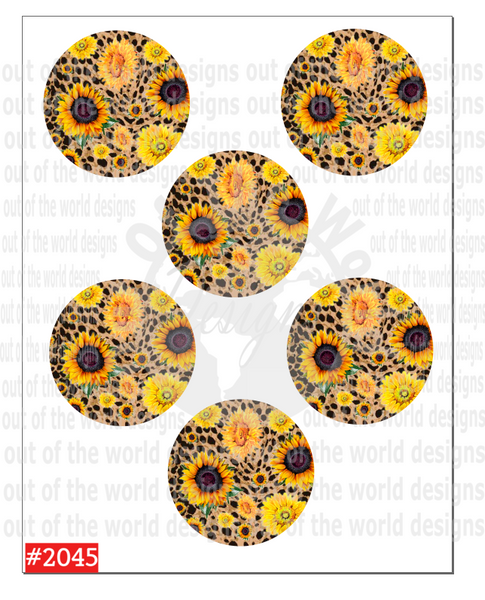 Sublimation print - Cheetah and sunflower Car Coaster sheet #2045