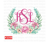 Sublimation print - Monogram with floral wreath #2098