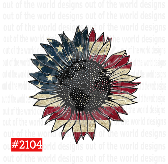 Sublimation print - Vintage Style American sunflower #2104
